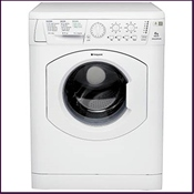 Hotpoint 1200 spin washing machine 'AA' graded washing and energy efficiency, featuring an easy iron setting and a wide opening door for easy loading/unloading.
