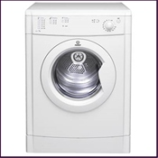 The Indesit IDV65 vented tumble dryer features a 6kg capacity load with reverse tumble action to reduce creasing.