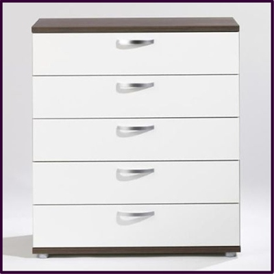 Inline 5 drawer - white & dark walnut