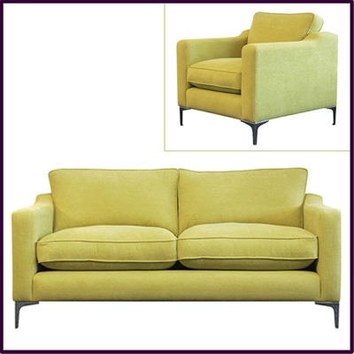 Chic 'Lincoln' sofa in contemporary pistachio fabric