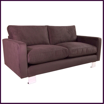 Contemporary 'London' sofa in Grape colour fabric