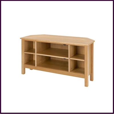 Oak Veneer Corner TV Unit