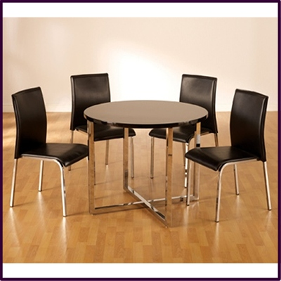 Vogue Round 4 Seater Dining Table - Black