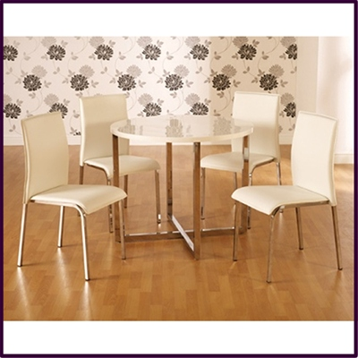 Vogue Round 4 Seater Dining Table - White