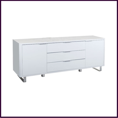White Gloss 2 Door / 3 Drawer Sideboard
