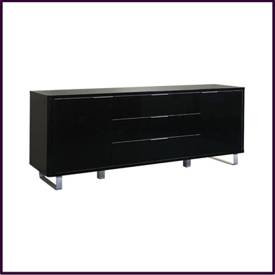 Black Gloss 2 Door / 3 Drawer Sideboard