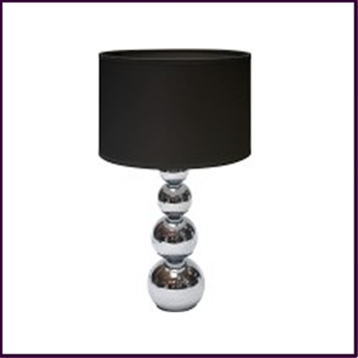 Cameo Touch Table Lamp Chrome Iron Base Black Fabric Shade