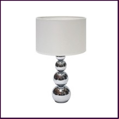 Cameo Touch Table Lamp - Chrome Iron Base White Fabric Shade