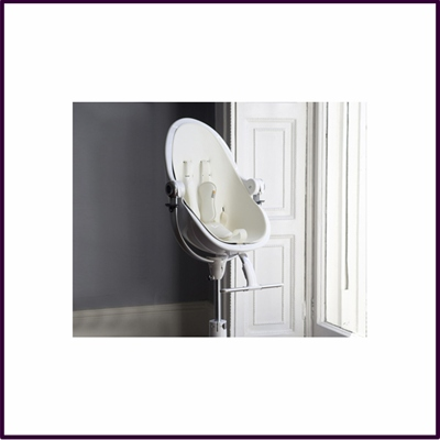 Contemporary Leatherette Baby Chair White Frame Lunar Silver