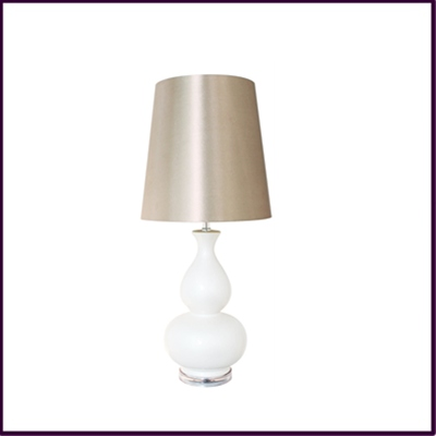 Ivory Ceramic Table Lamp with Champagne Shade
