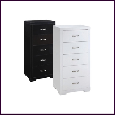 White or Black High Gloss 5 Drawer Chest