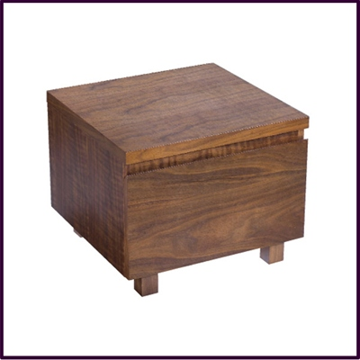 Walnut Vaneered 1 Drawer Bedside Cabinet