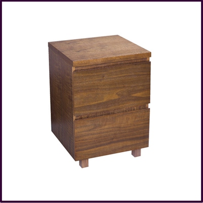 Walnut Vaneered 2 Drawer Bedside Cabinet