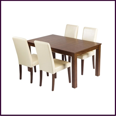 Walnut Veneer 4 Seater Dining Set