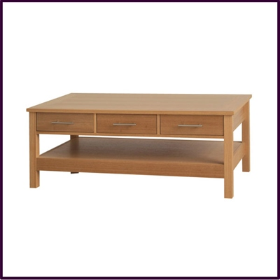 Oak Finish Coffee Table with 3 Drawers