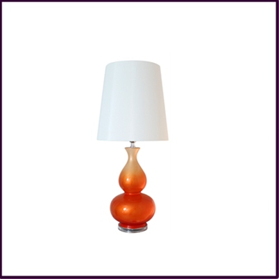 Orange Ceramic Table Lamp with White Shade