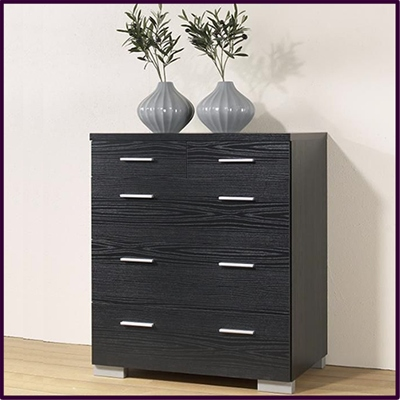 Puls 3 + 2 drawer chest in black wood grain finish £155
