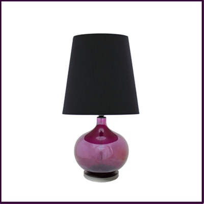 Plum Glass Table Lamp with Black Shade