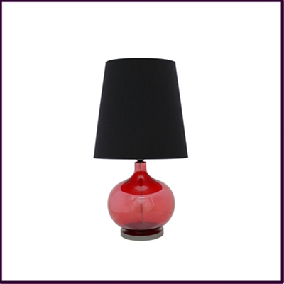 Red Glass Table Lamp with Black Shade