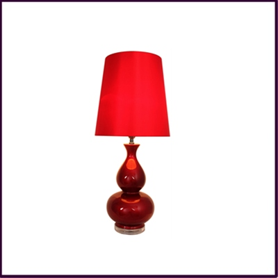 Red Ceramc Table Lamp with Red Shade