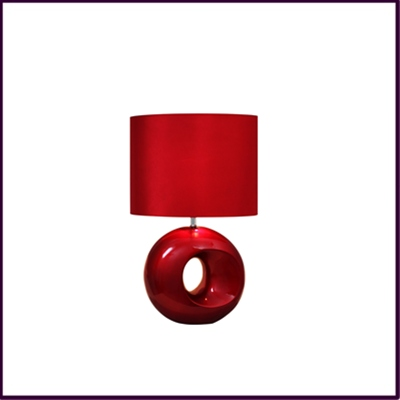 Red Taurus Table Lamp with Red Shade