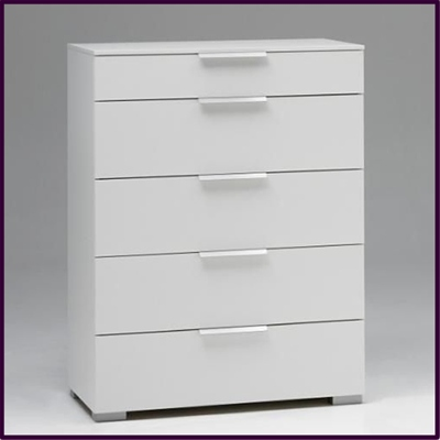 Valencia 5 drawer chest in white